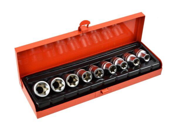 TORX Padrunikomplekt E10-E24 CrV 1/2 10osa /metall karp/