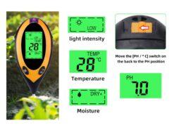 Happemõõtur - mulla pH-, temperatuuri- ja valgustusmõõtur