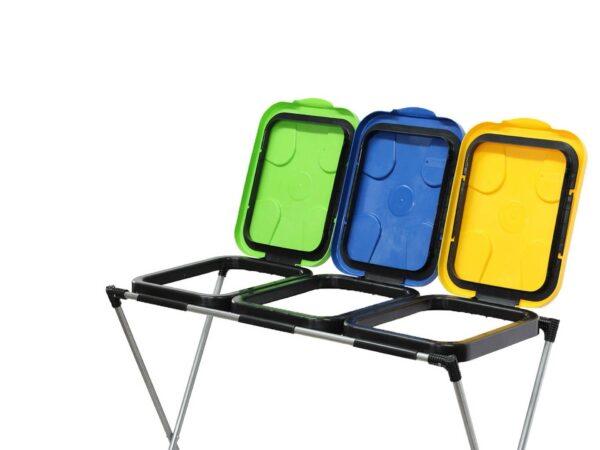 Prügikotiraam kolmele kotile. Prügi sorteerimiseks-G71260-3